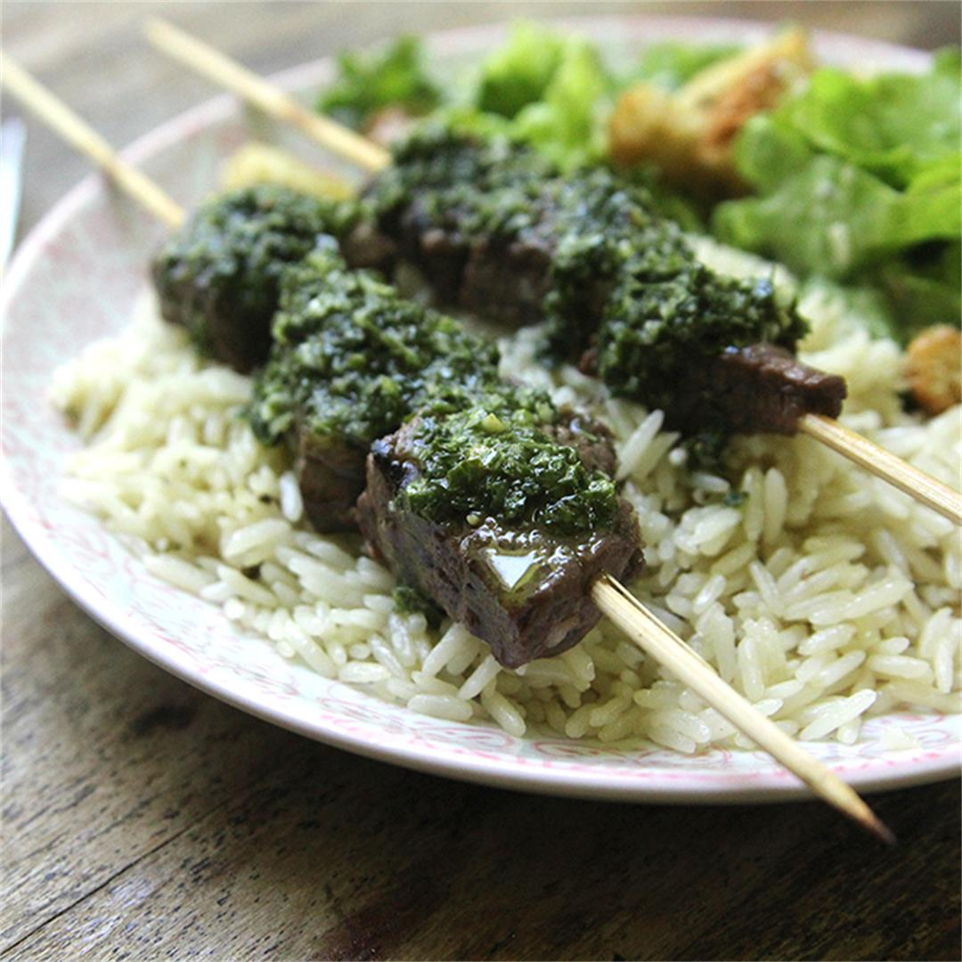 Brazilian Marinated Skewers with Chimichurri and Rice