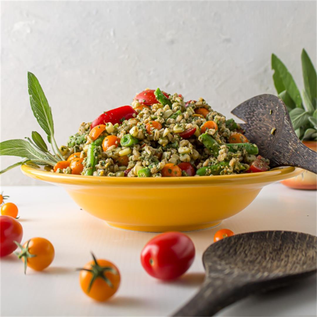Sage Pesto Farro Salad