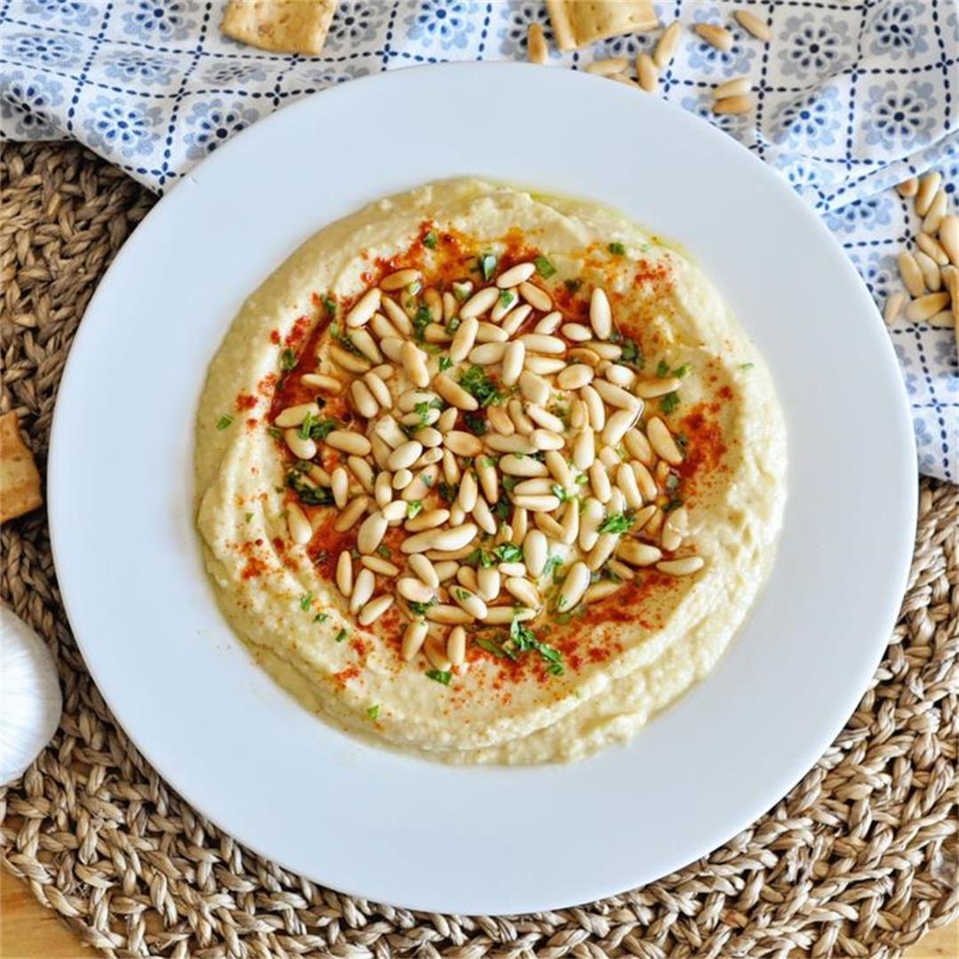 No Tahini Creamy Garlic Hummus with Pine Nuts
