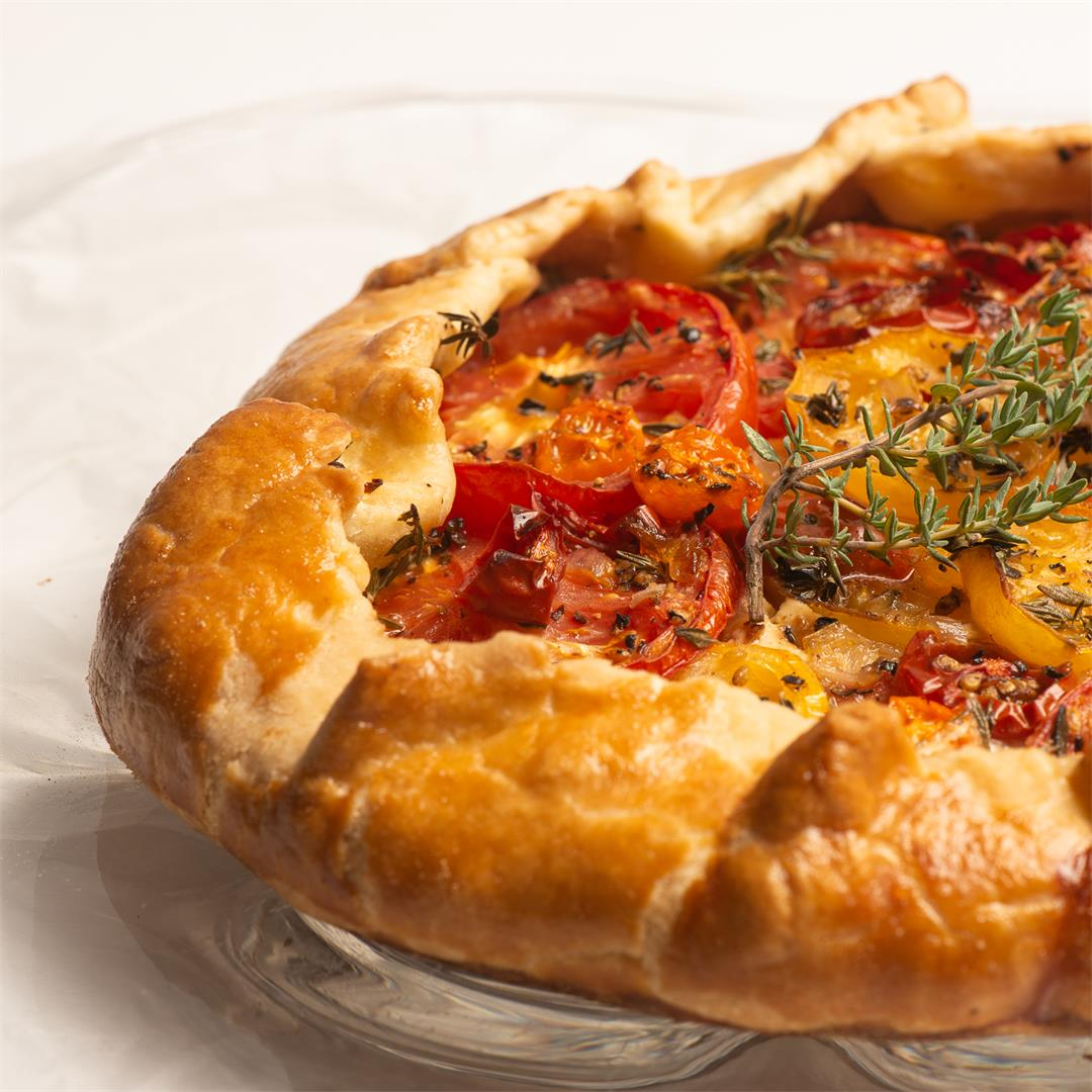 Tomato Galette With Honeyed Goat Cheese, Caramelized Shallots a