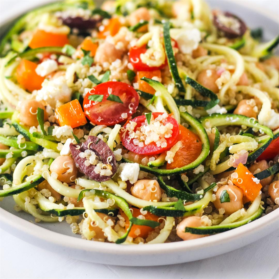 Quinoa and Zucchini Noodles Salad (Easy Dinner For Two)