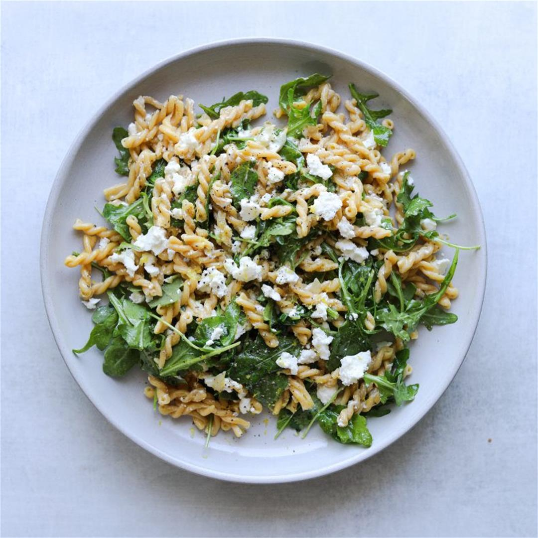Five-Ingredient Chickpea Pasta with Arugula + Feta