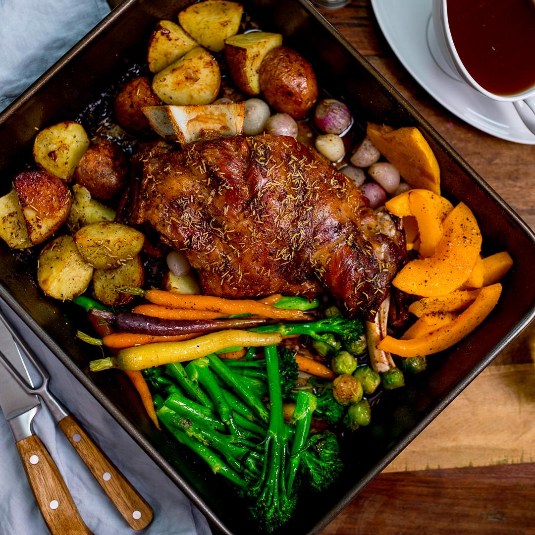 Slow Roast Shoulder of Welsh Lamb with Vegetables and Cider Gra