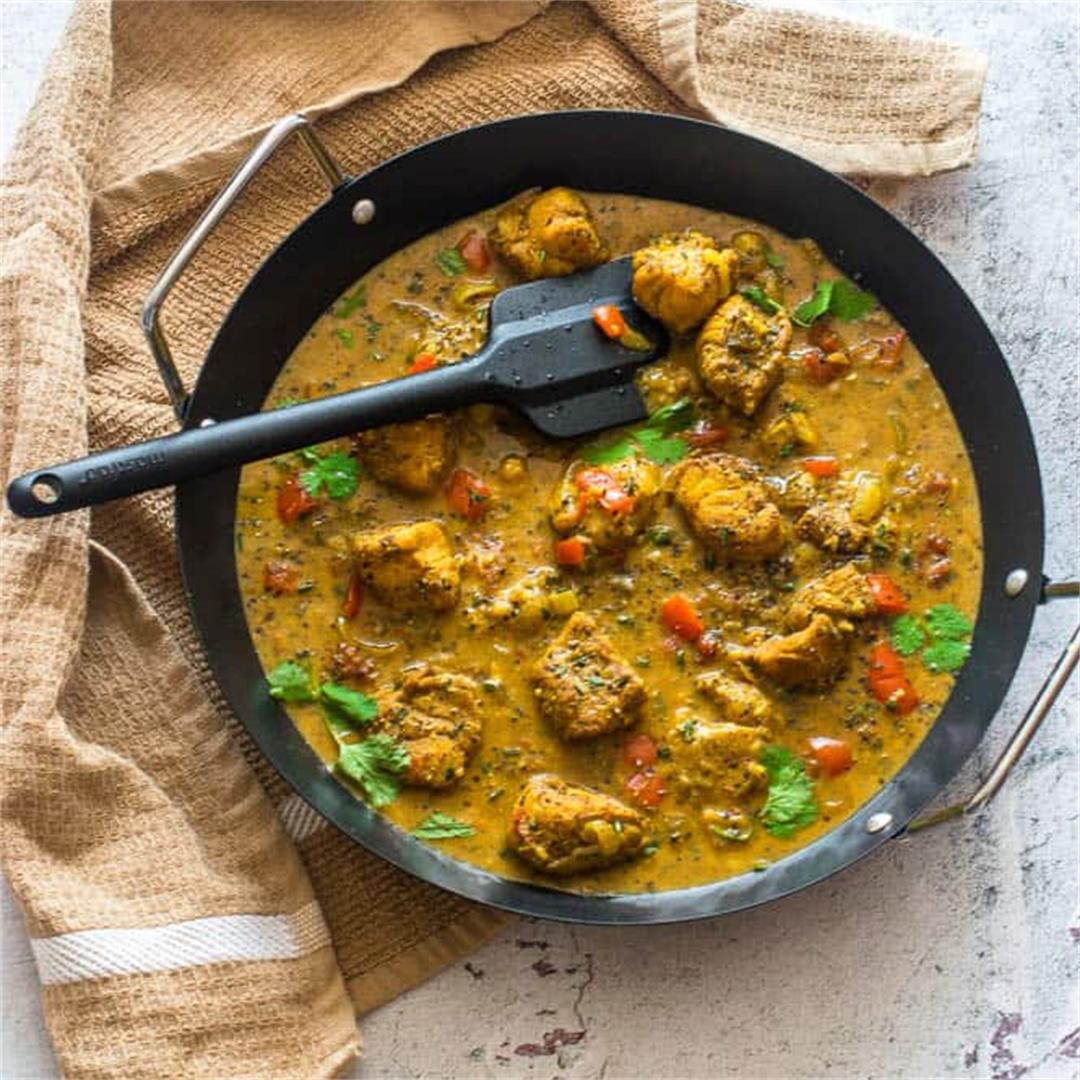 Caribbean style curry cod (curried cod)