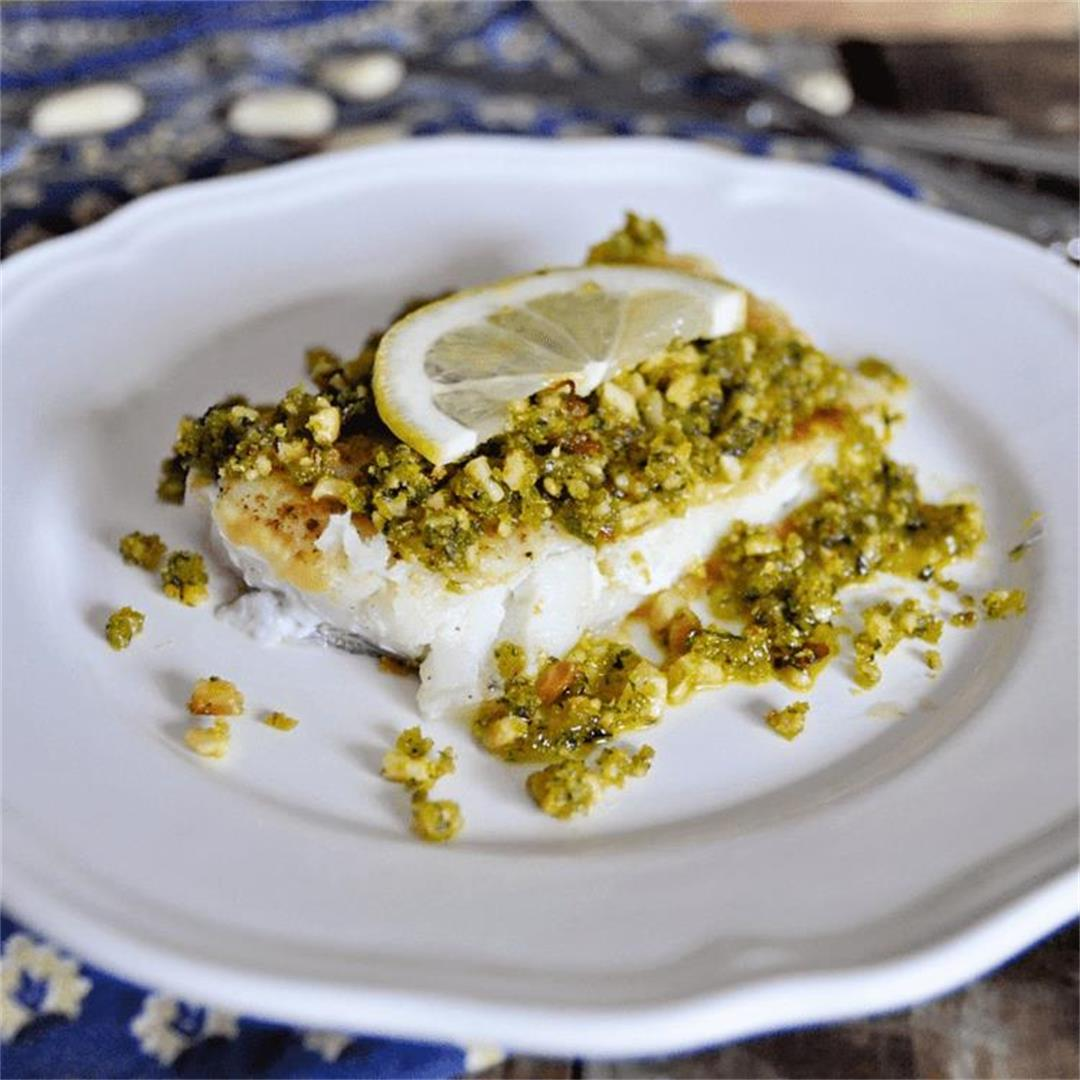Pan Grilled Spanish Cod with Almond Picada Sauce Recipe