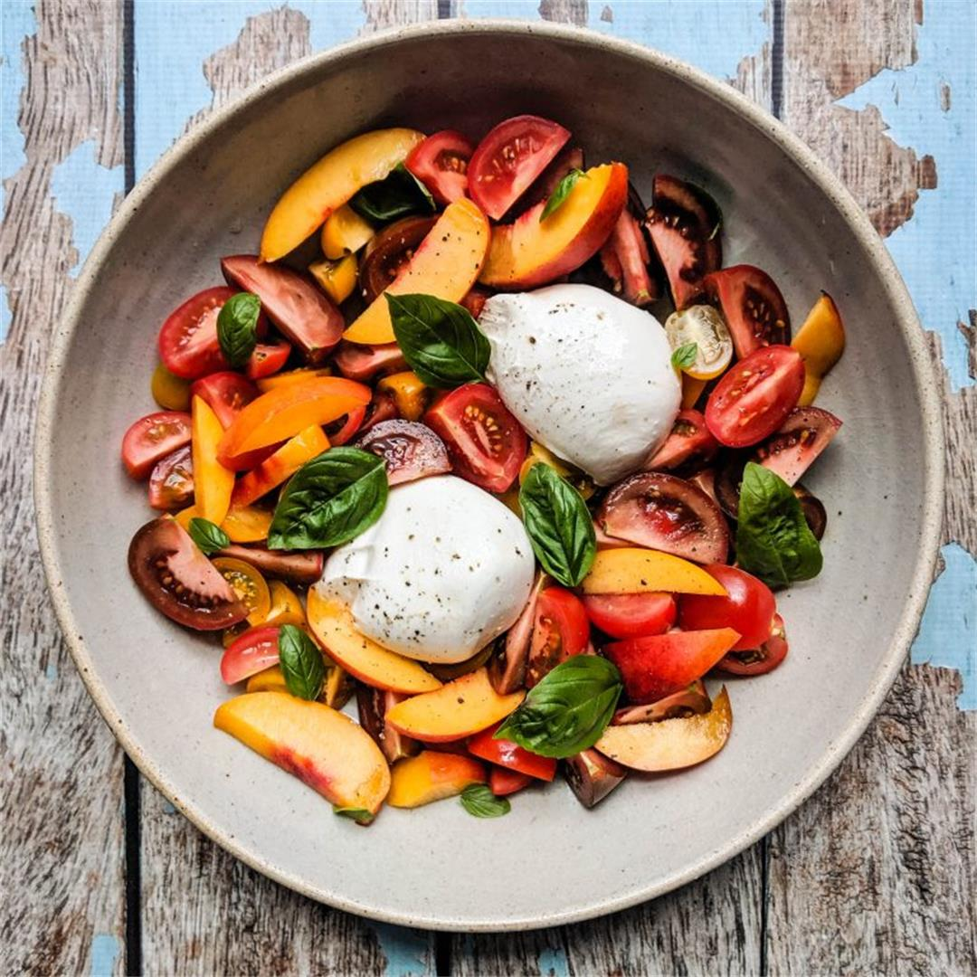 Nectarine and Burrata Caprese Salad