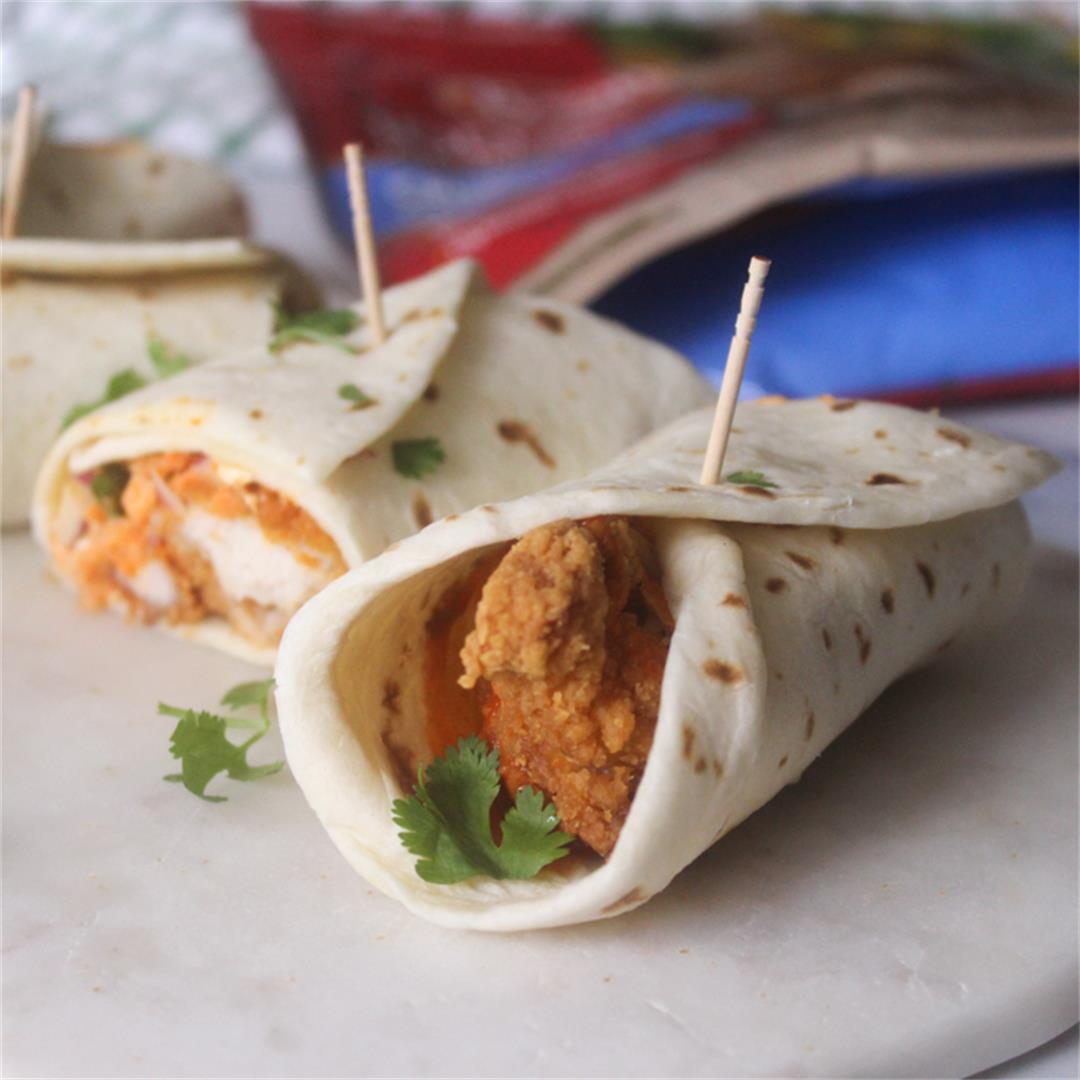 Crispy Buffalo Chicken Wraps with Blue Cheese Slaw