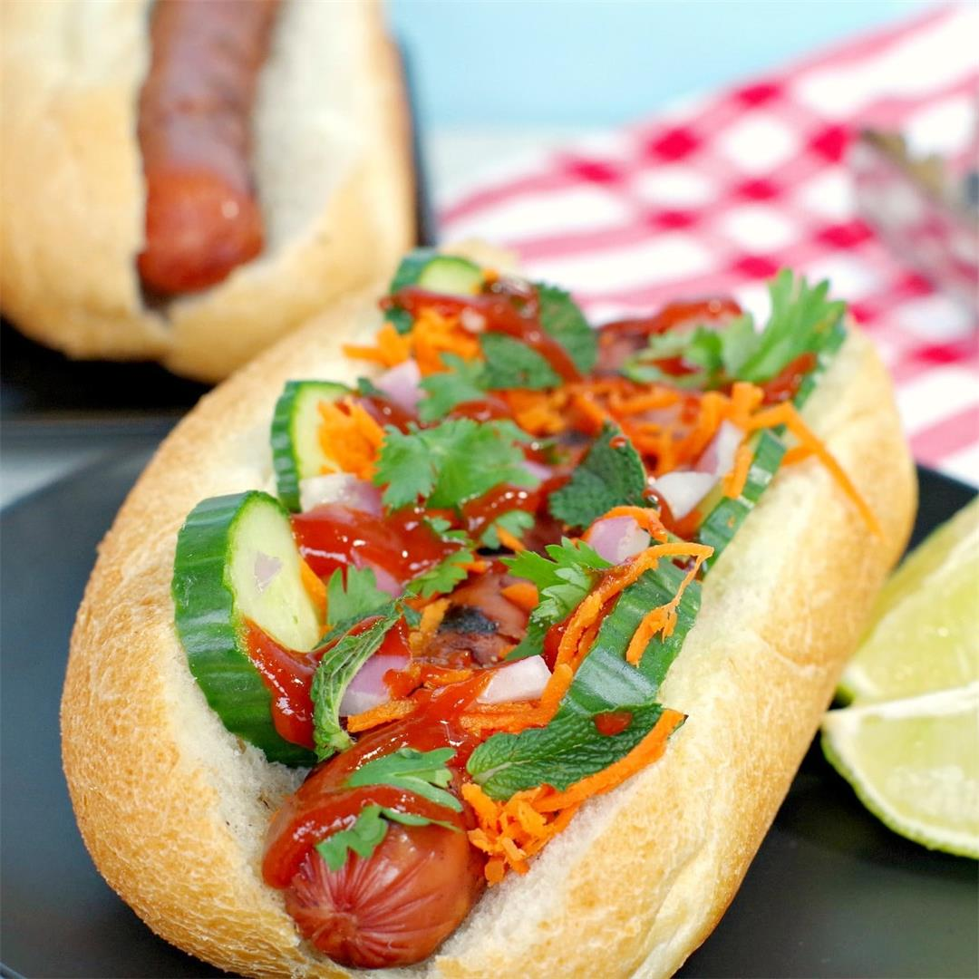 Banh Mi Turkey Hot dog- Weight Watchers Friendly