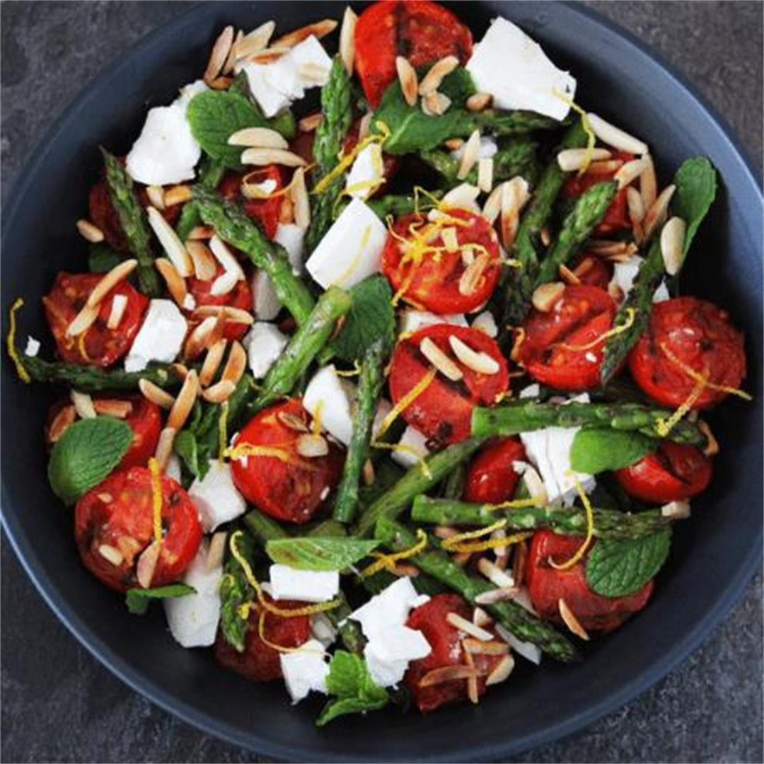 Chargrilled Asparagus with Feta and Mint - It's Not Complicated