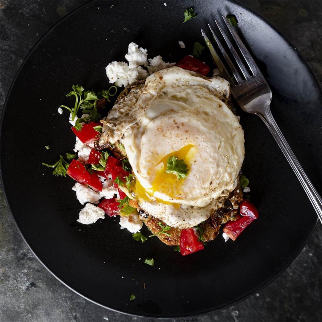 cast iron quinoa cakes with crispy egg and feta — Recipe Fictio