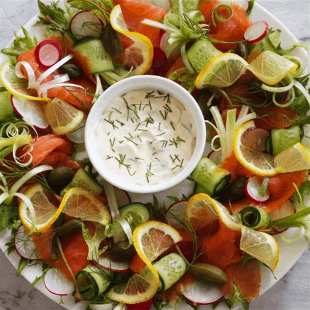 Smoked Salmon Wreath - It's Not Complicated Recipes