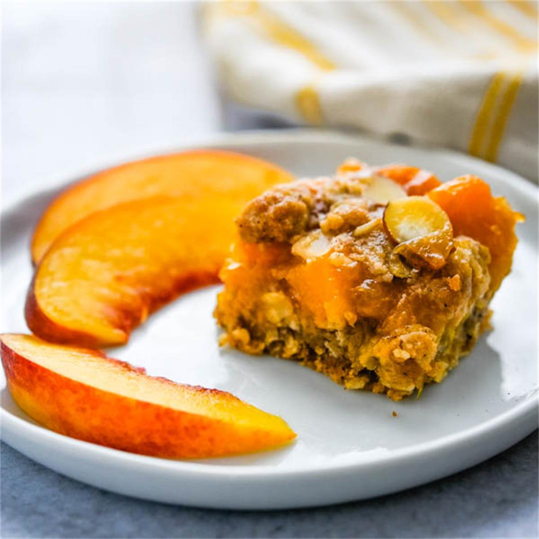 Fresh Peach Bars with Streusel Topping