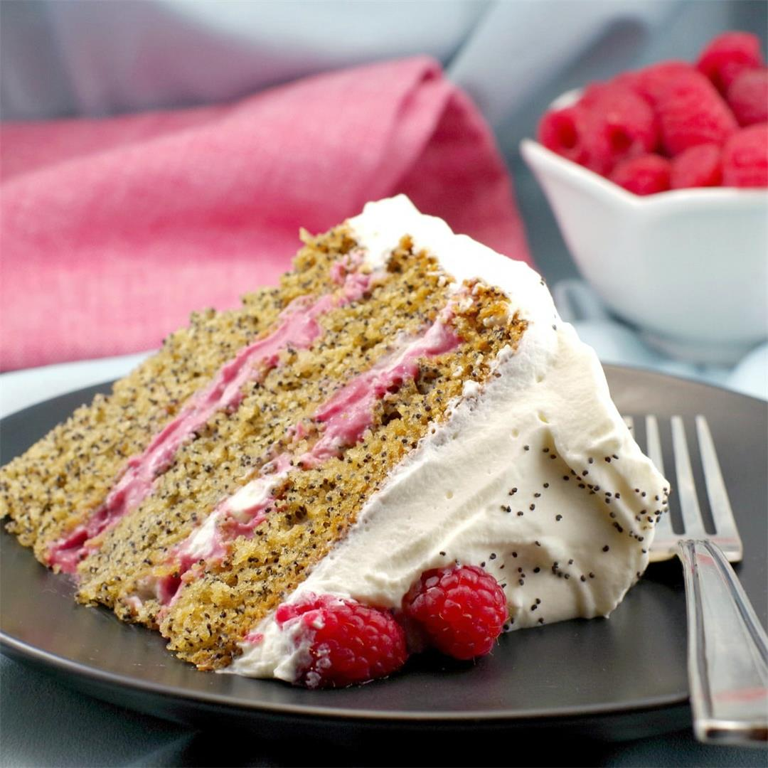 Lemon Poppy Seed Torte with Raspberry Curd Filling