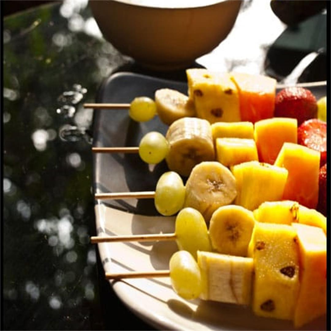Fruit skewers and Coconut Yogurt dip