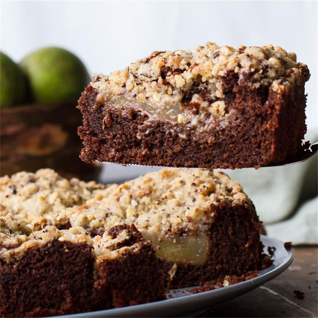Chocolate Pear Cake with Hazelnut Crumb Topping