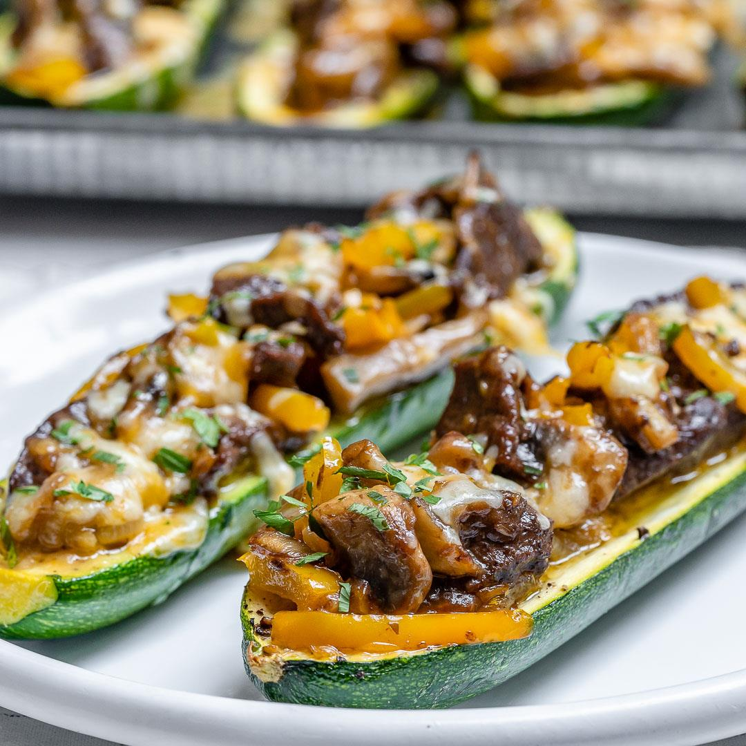 Philly Cheese Steak Zucchini Boats (Keto Recipe)