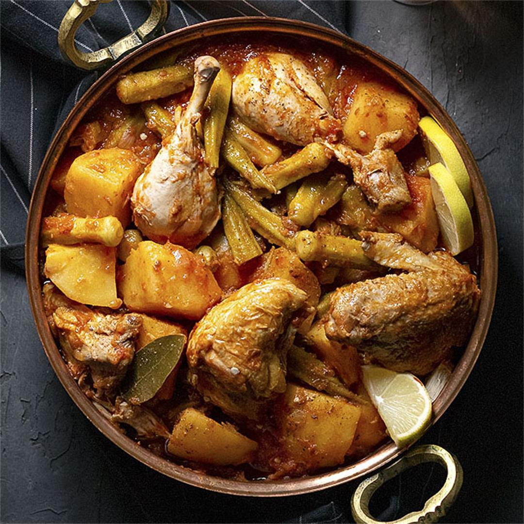 Greek Chicken Stew with Potatoes and Okra
