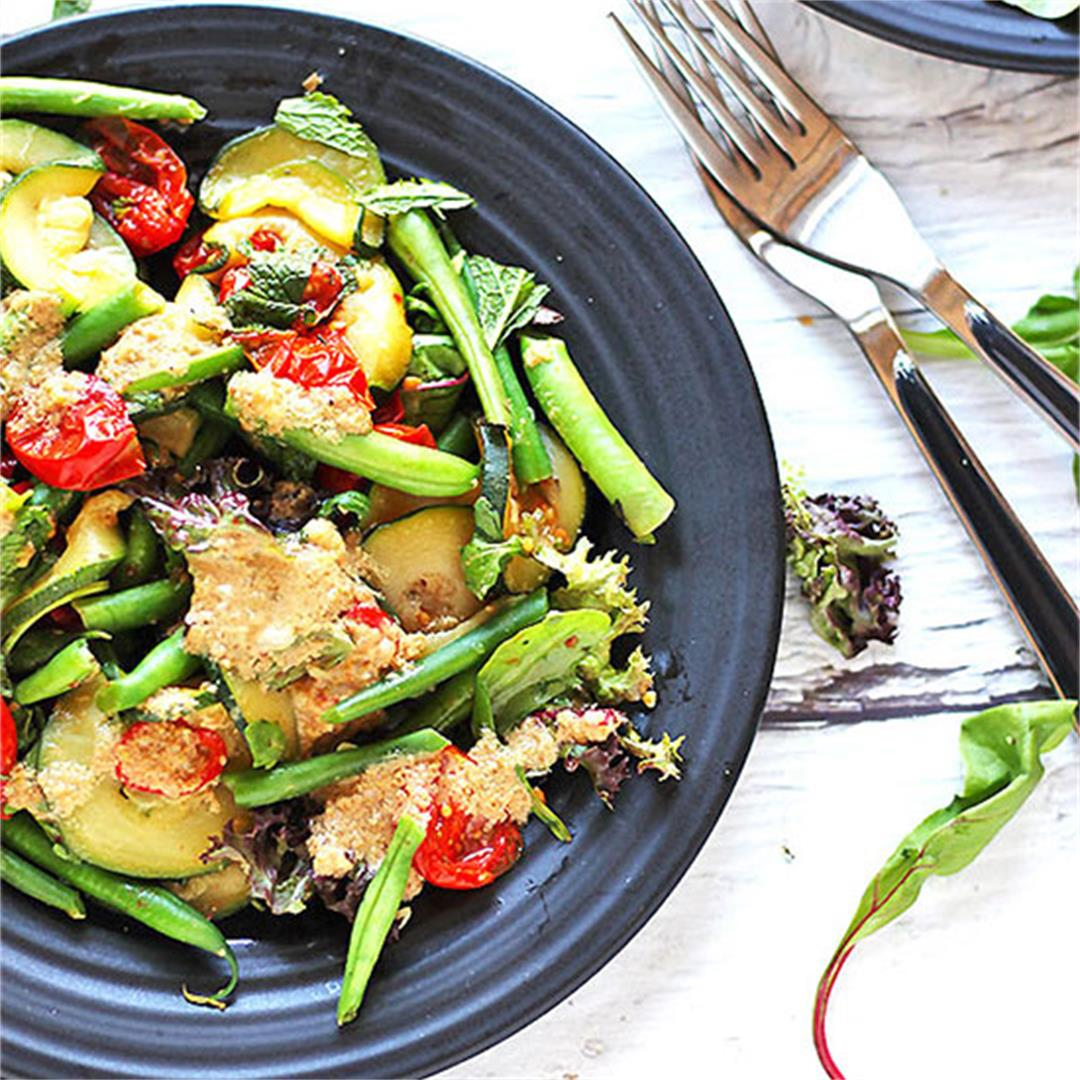 zucchini-green bean salad with Tahini dressing