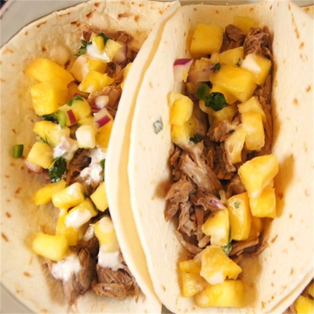 Crock-Pot Pulled Pork Tacos with Pineapple Salsa