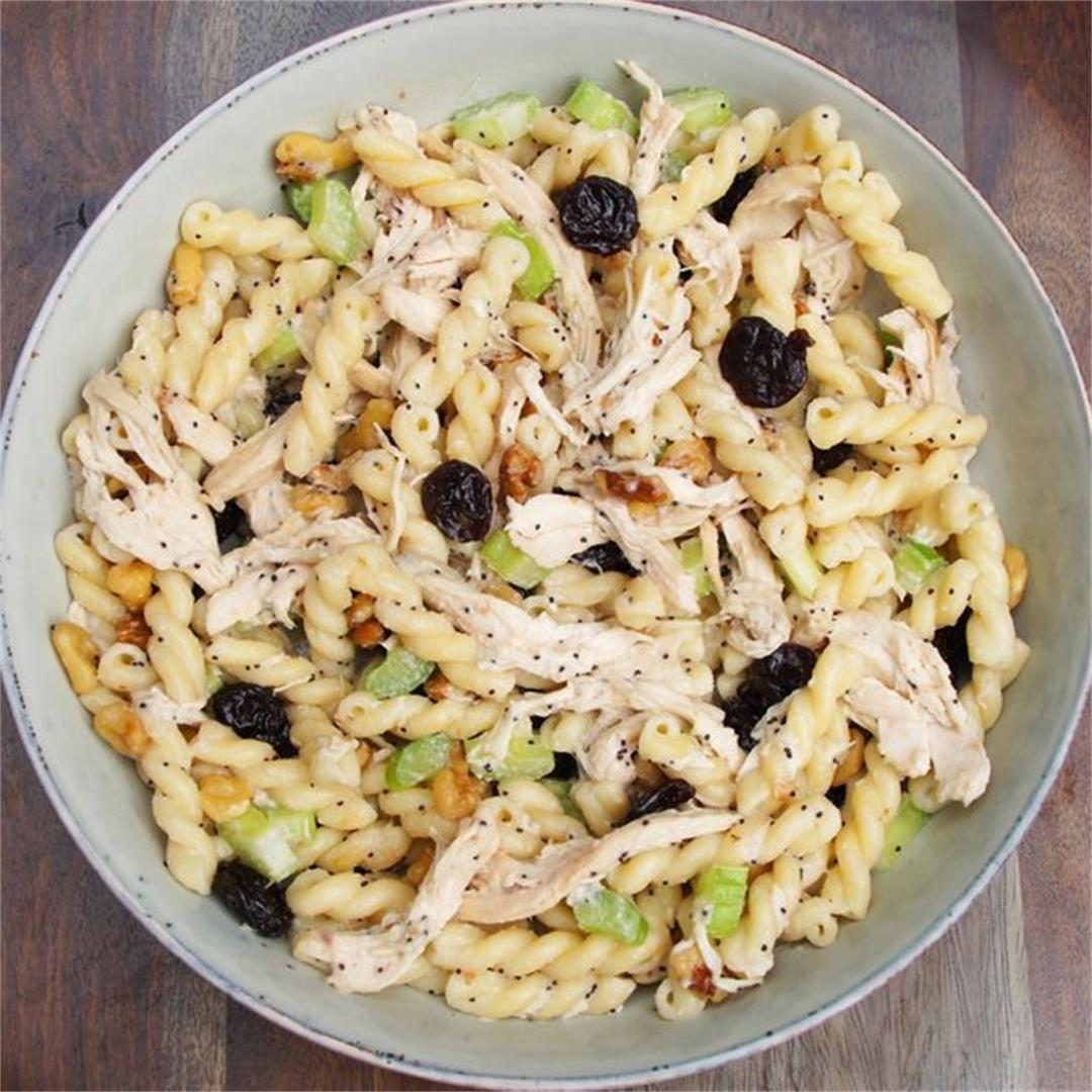 Healthy Cherry Chicken Pasta Salad — Land of 10,000 Recipes
