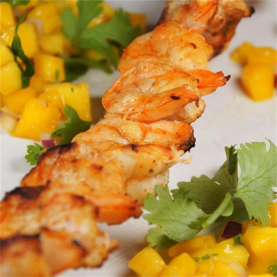 Grilled Chili Lime Shrimp with Mango Salsa