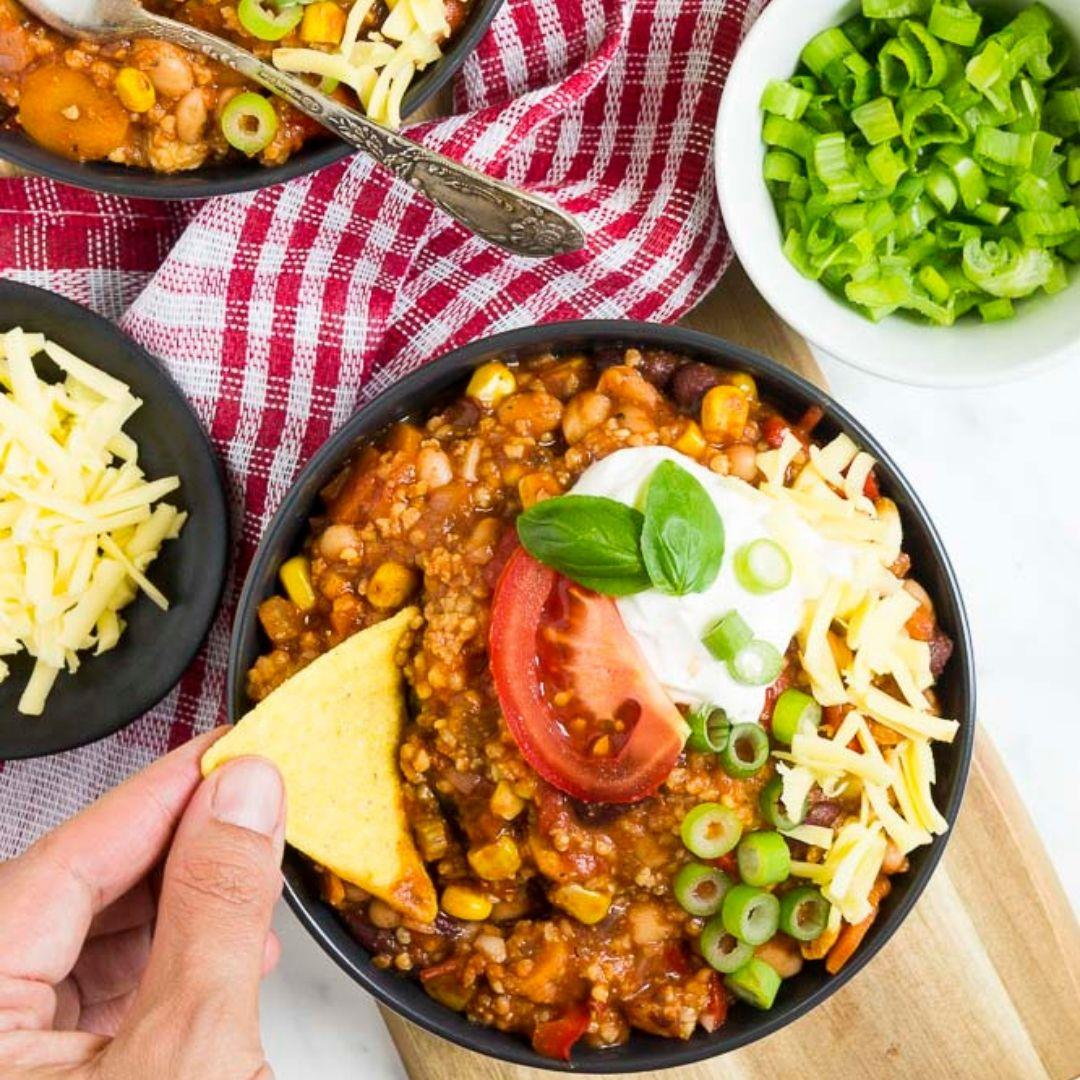 Easy Vegan Chili with Beans and Millet
