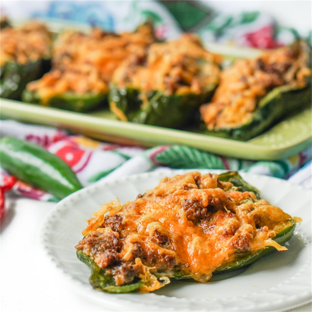 Low Carb Sausage & Cheese Stuffed Poblanos in the Air Fryer