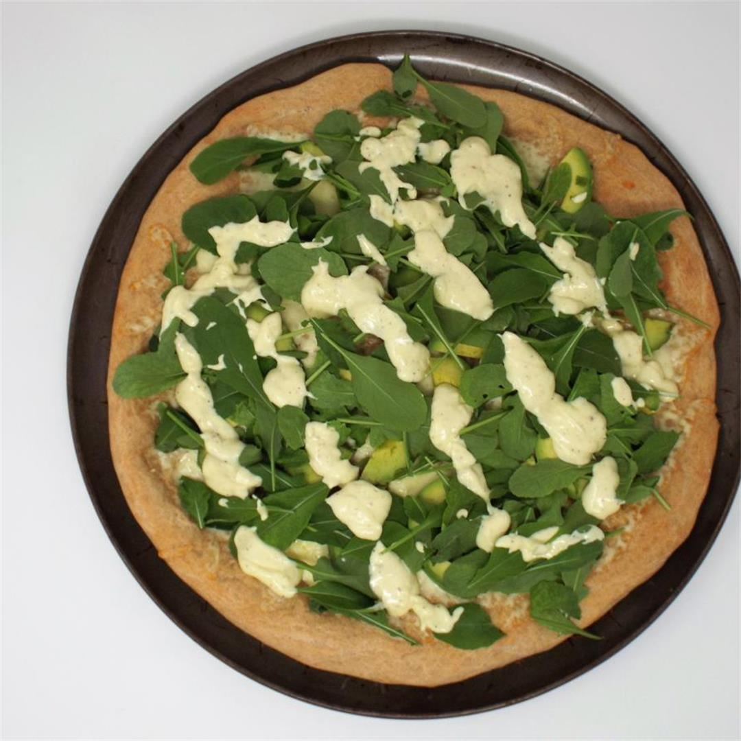 Avocado and Arugula Pizza with Aioli
