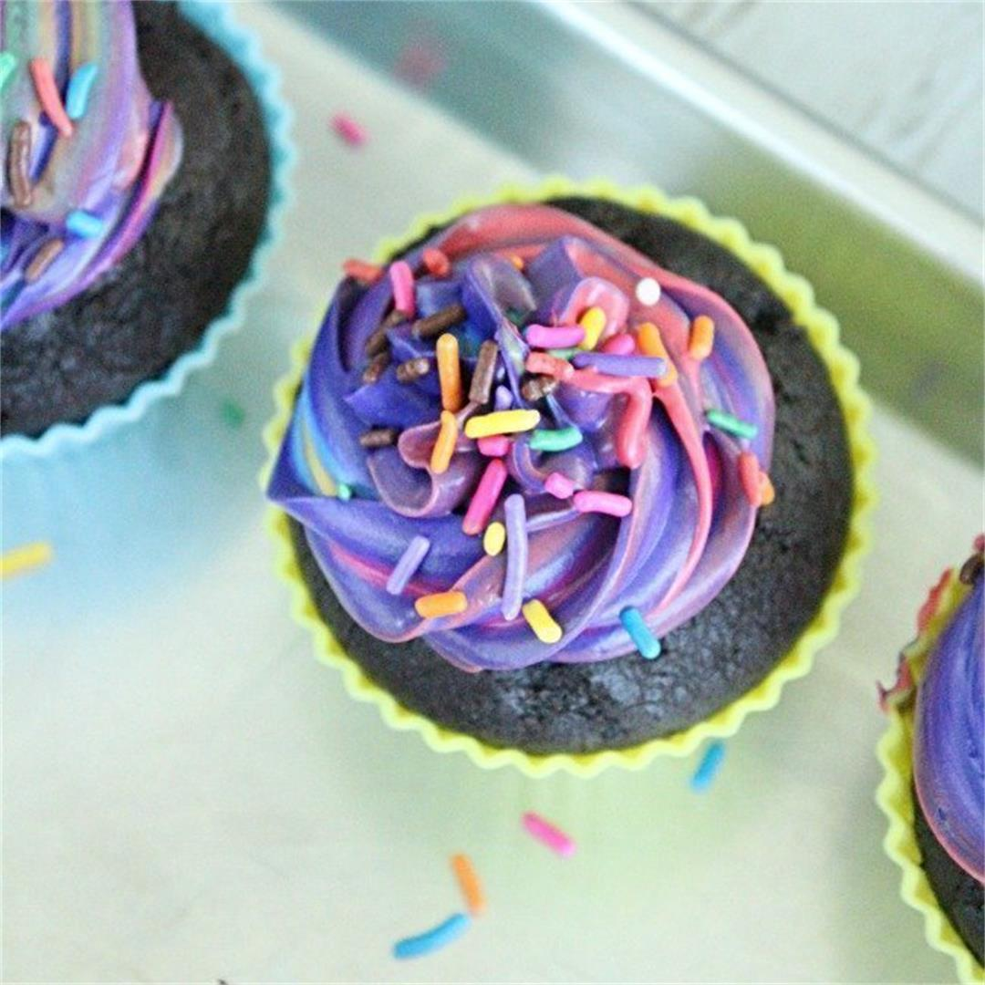 One Bowl Chocolate Cupcakes with Tye Dye Frosting