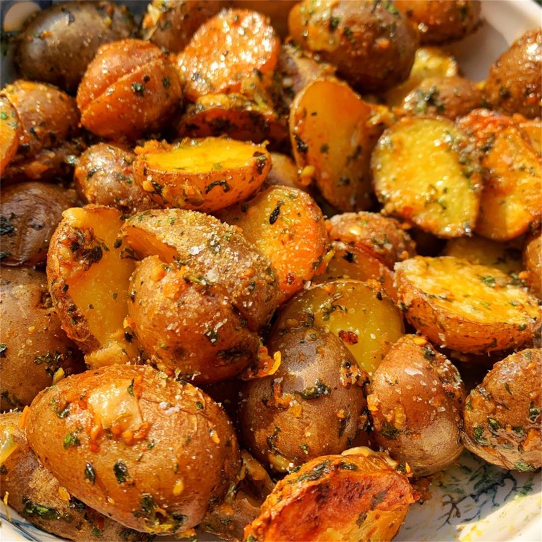 Roasted Garlic Butter Potatoes with Parmesan cheese