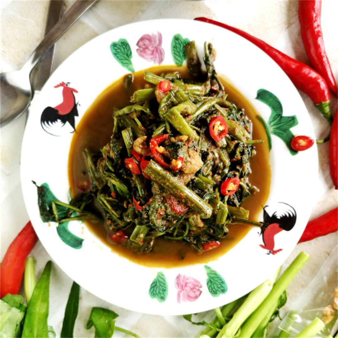 Kangkung recipe with belacan- How to cook in thirty minutes