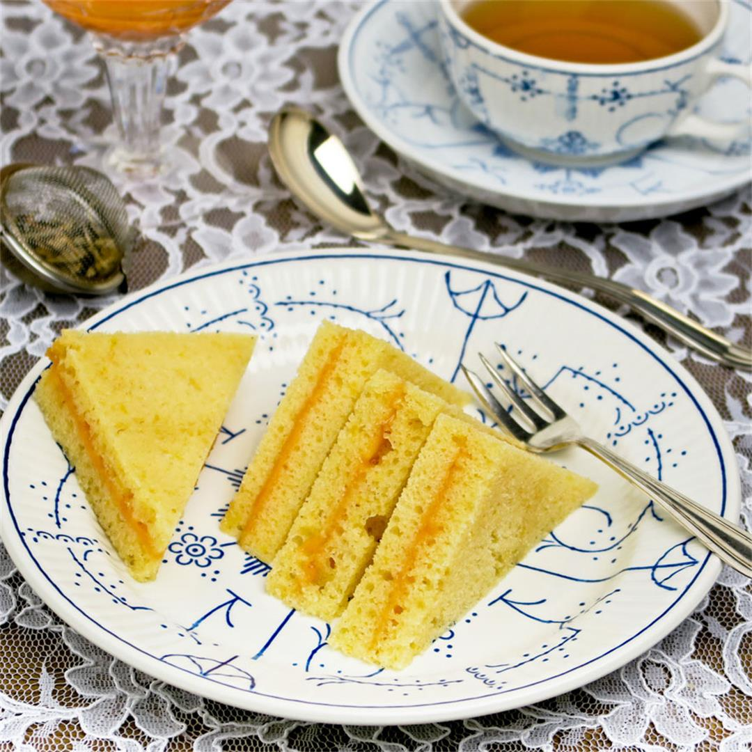Elegant sandwiches of lemon cake with homemade orange curd!