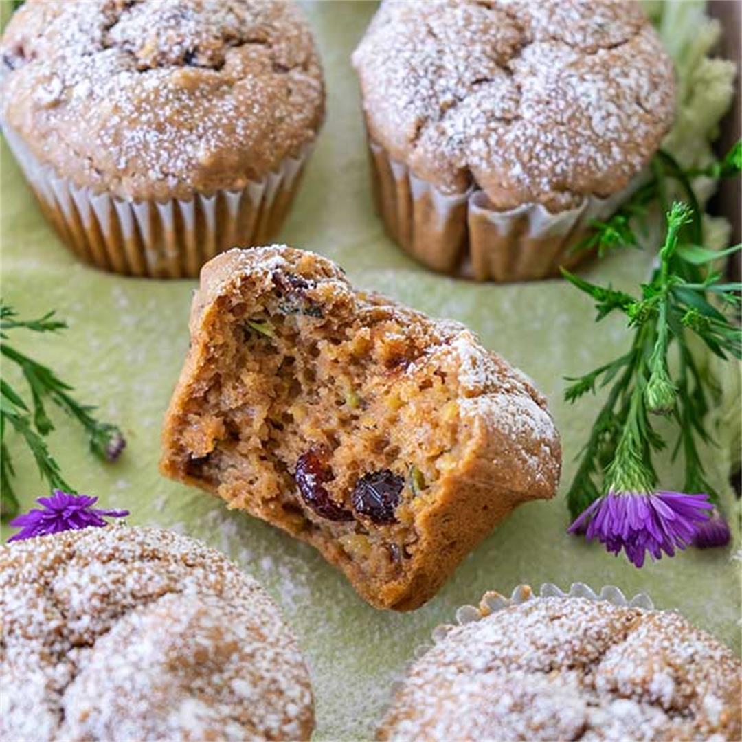 Chai-Spiced Cranberry Zucchini Muffins