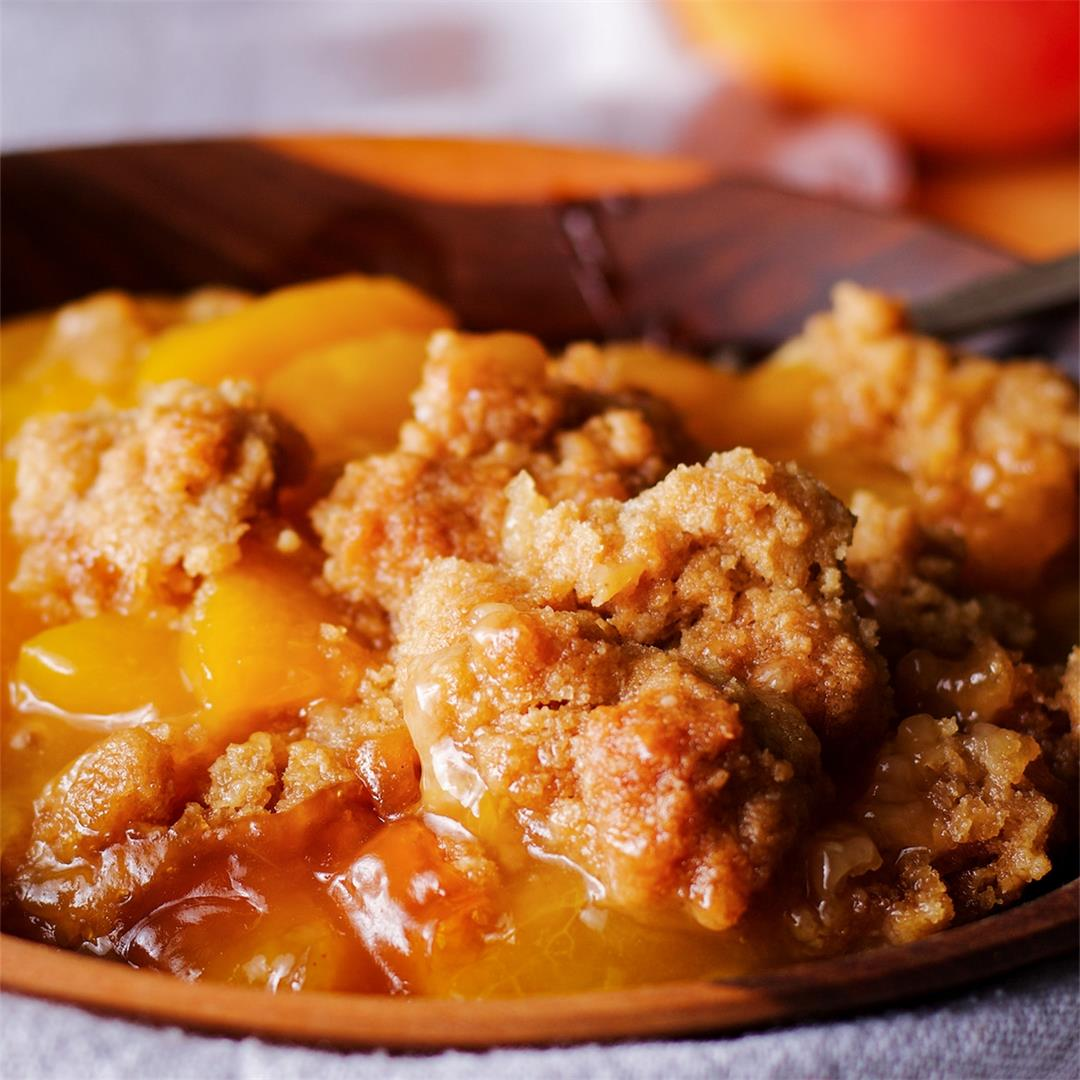 Peach Cobbler {with brown sugar cookie topping}