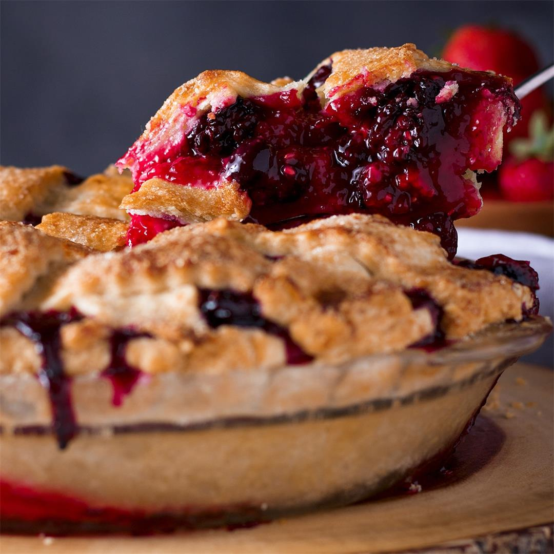 Mixed Berry Plum Pie with 3 Kinds of Fresh Berries