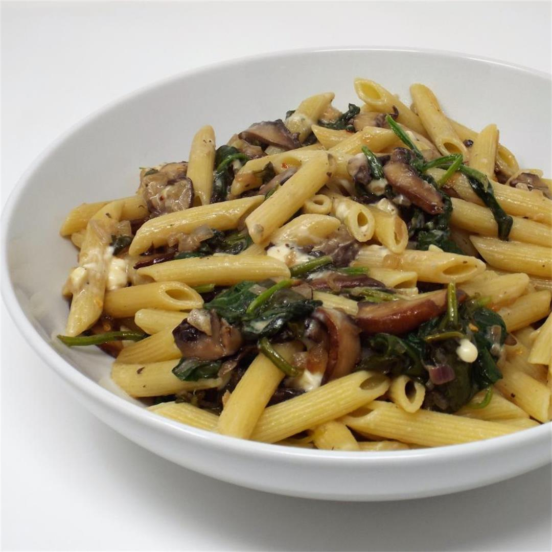 Portobello and Spinach Penne with Blue Cheese