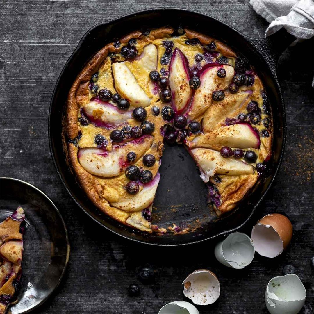 Cast Iron Pear Blueberry Clafoutis — Recipe Fiction