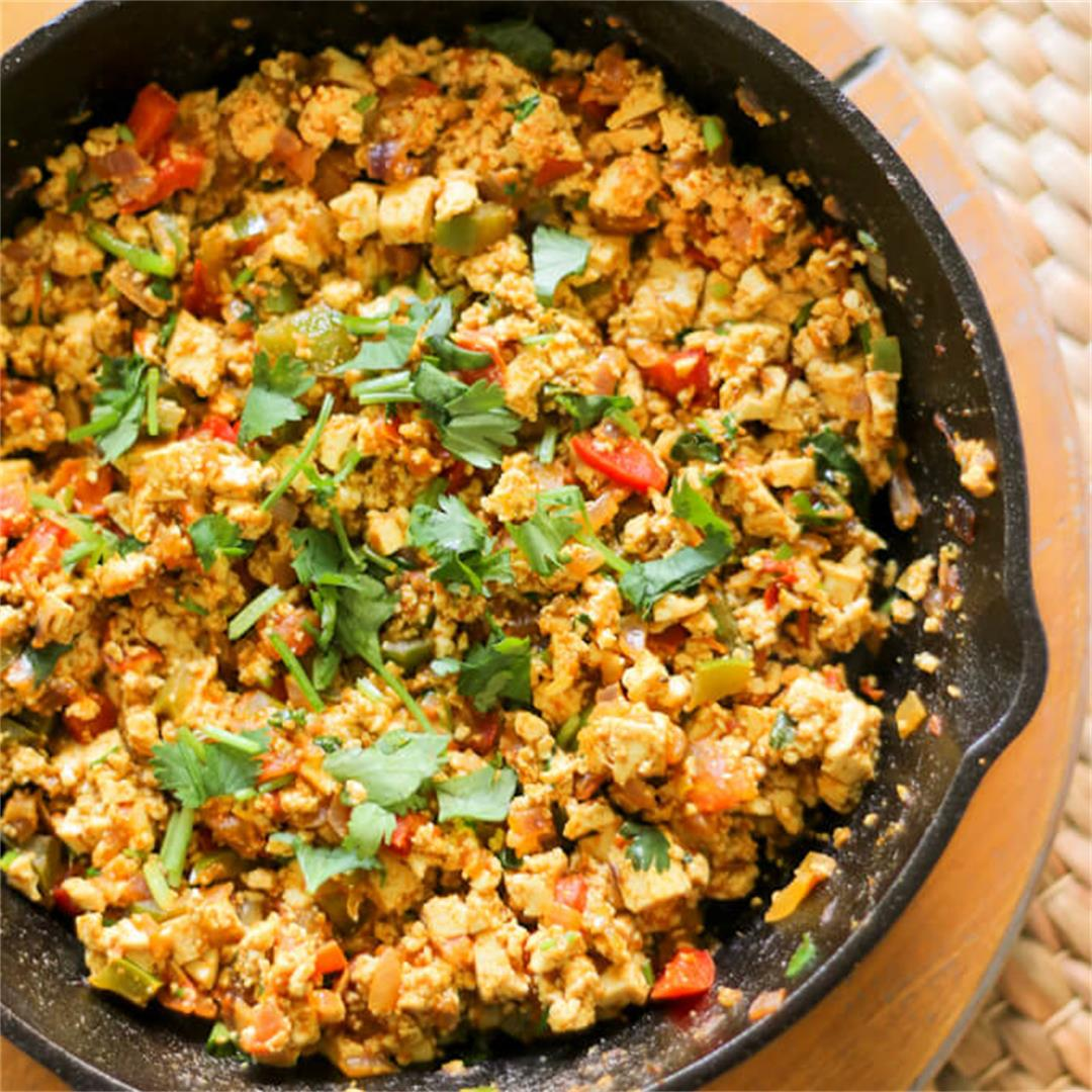 Vegan Tofu Scramble - a hearty breakfast vegetable scramble