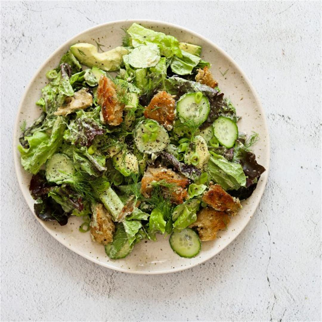 Green Goddess Salad with Basil-Tahini Dressing
