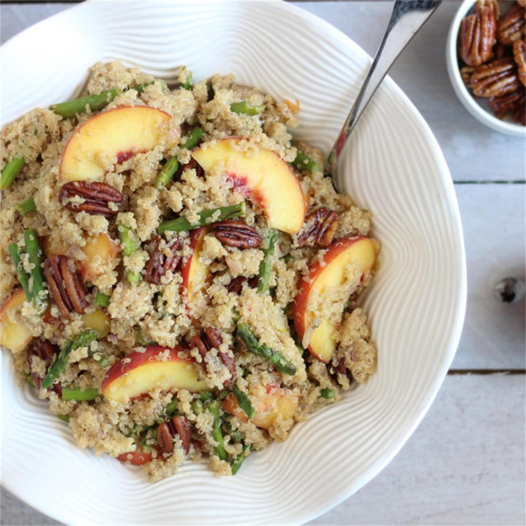 Vegan Asparagus Peach Quinoa Salad w/Maple Pecans