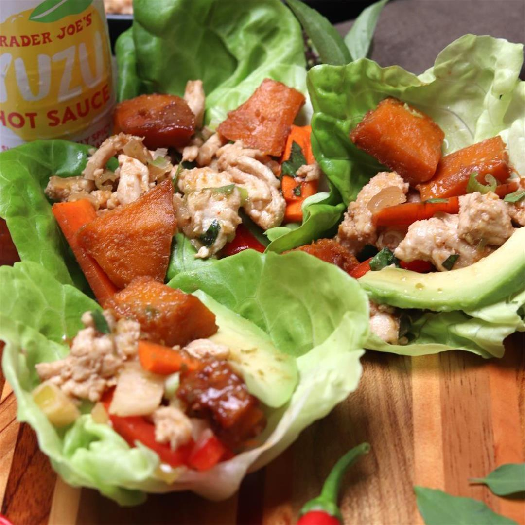 Asian Lettuce Wraps with Miso Roasted Kabocha Squash