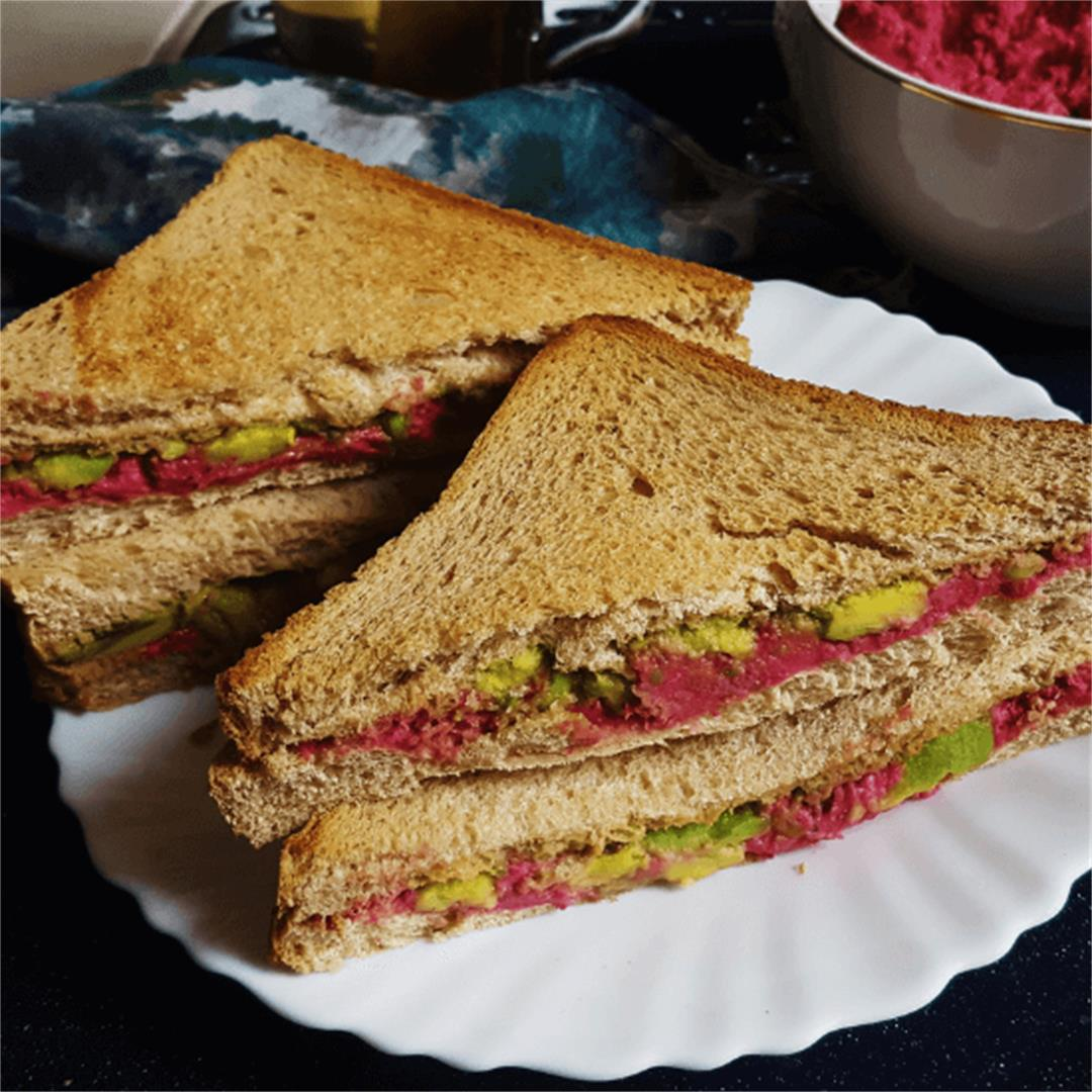 Beetroot Hummus and Avocado Sandwich