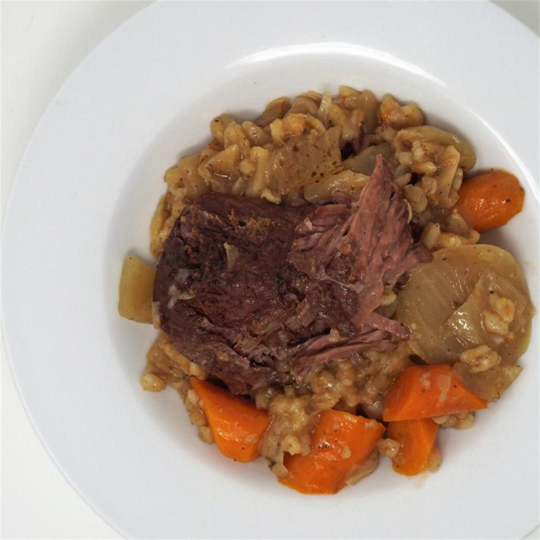 Slow Cooker Pot Roast with Cabbage and Barley