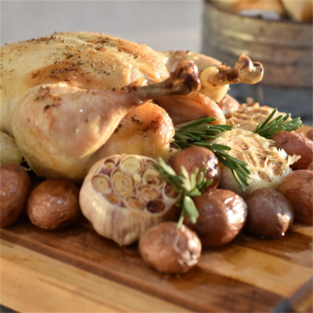 Roast Chicken with Potatoes and Garlic