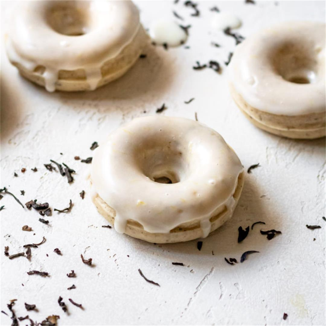 Earl Grey Mochi Donuts with a Lemon Glaze - Cooking Therapy