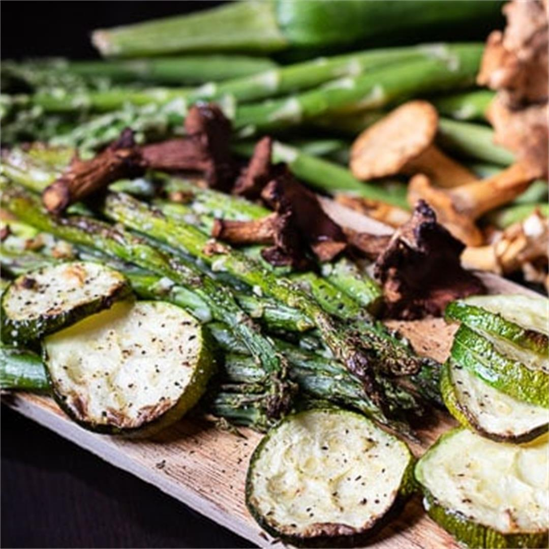 Oven Roasted Cedar Plank Vegetables