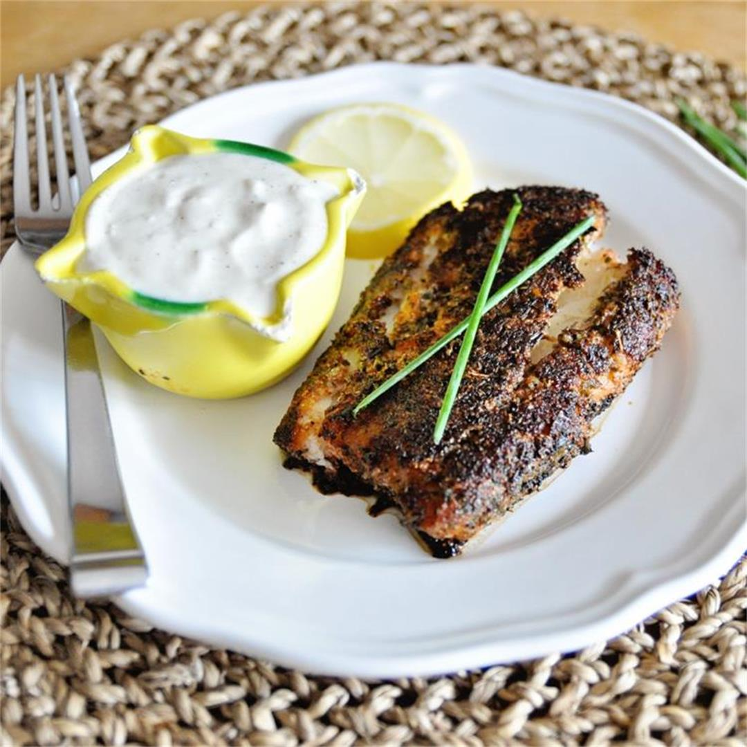 Blackened Cod with Garlic Yogurt Aioli