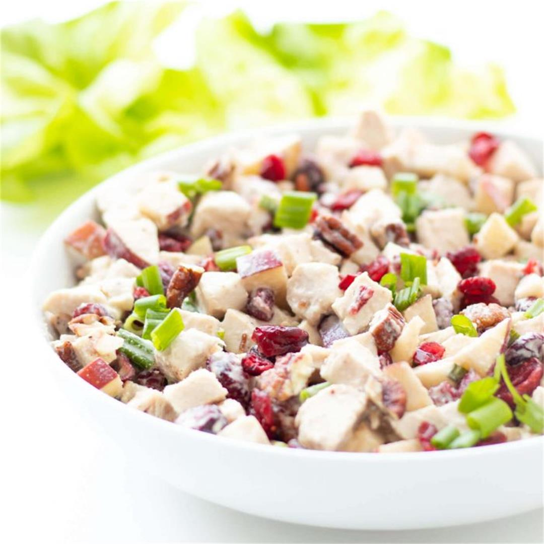 Mayo-free Cranberry Apple Chicken Salad