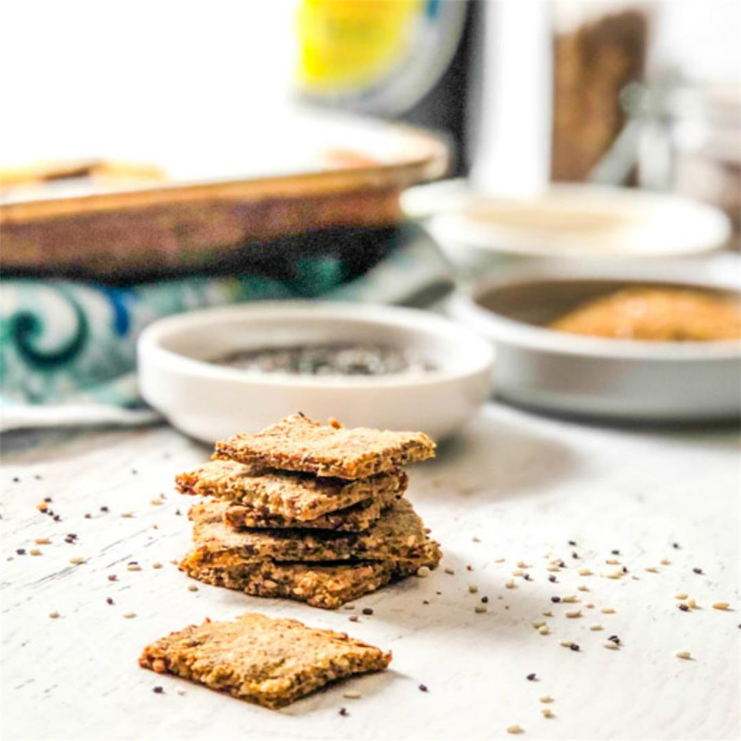 Easy Low Carb Crackers for a high protein, low carb snack!