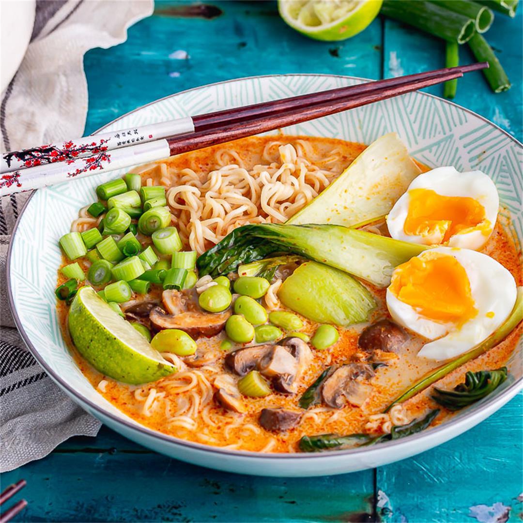 Coconut Noodle Soup with Mushroom & Edamame